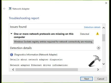 one or more network protocols are missing windows 10 wifi