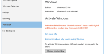 activation failed because this device doesnt have a valid digital entitlement or product key