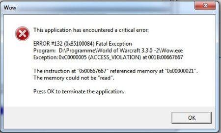 WOW Error 132 Fatal Exception Fix! - The Error Code Pros