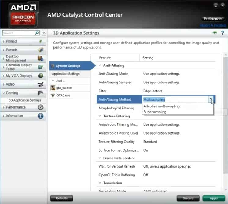 ​amd catalyst control center settings