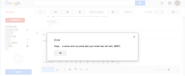 How to Solve Oops a server error occurred and your email was not sent 007