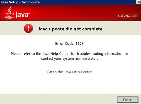 Java Error Code 1603 Solved