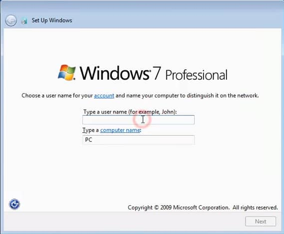 window 7 installation key