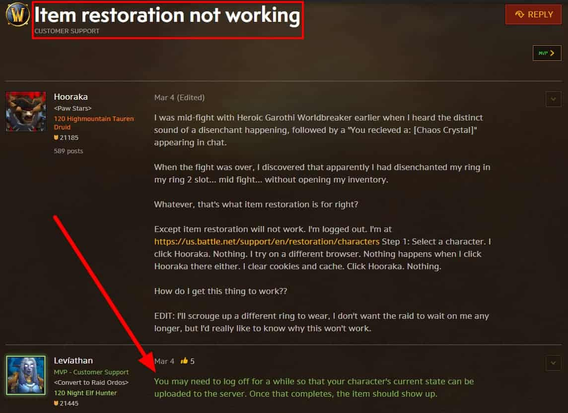 Item restoration not working wow