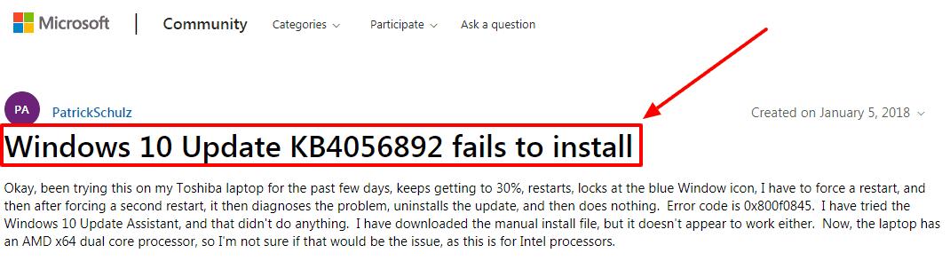 Windows 10 Update KB4056892 fails to install Microsoft Community
