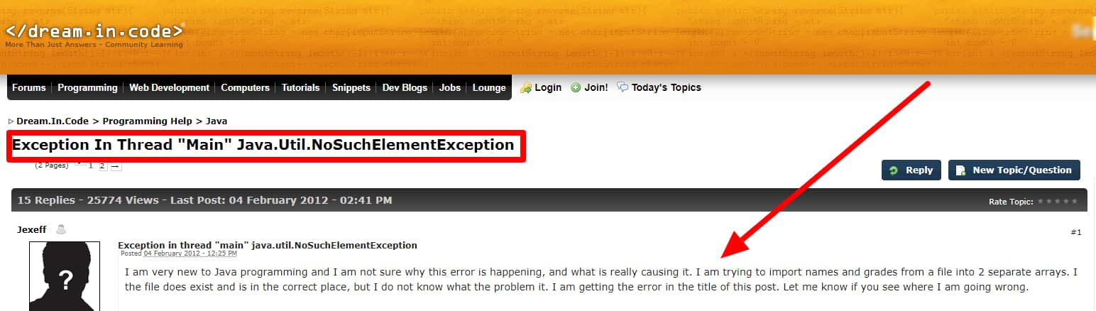 Exception In Thread main Java util NoSuchElementException Java Dream In Code