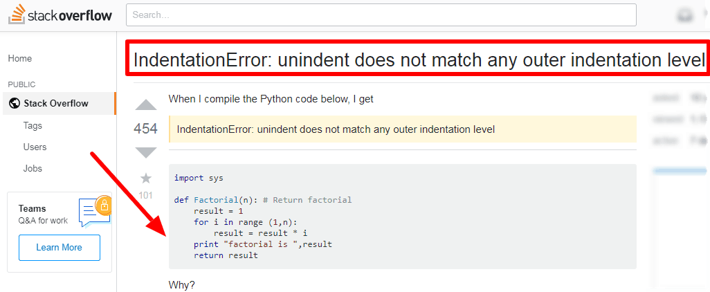 python IndentationError unindent does not match any outer indentation level